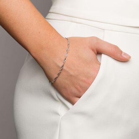 "19cm (7.5"") Singapore Bracelet in 10ct White Gold"