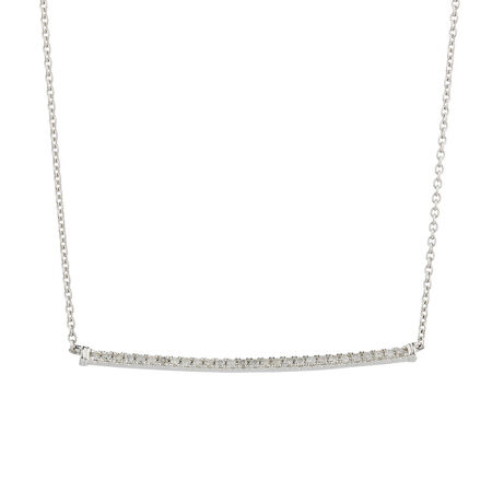 Online Exclusive - Pendant with 0.18 Carat TW of Diamonds in 10ct White Gold