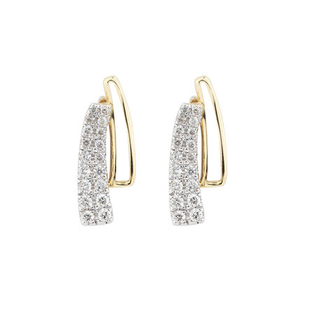 Earrings with 1/4 Carat TW of Diamonds in 10ct Yellow & White Gold