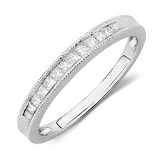 Wedding Band with 1/4 TW of Diamonds in 14ct White Gold