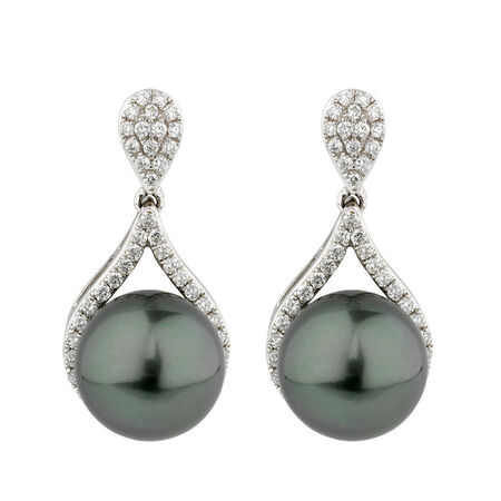 Online Exclusive - Earrings with 0.54 Carat TW of Diamonds & South Sea Pearl in 10ct White Gold