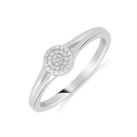 Cluster Ring with Diamonds in Sterling Silver