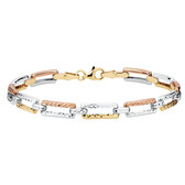 "21cm (8"") Bracelet in 10ct Yellow, White & Rose Gold"