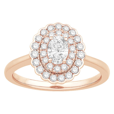 Ring with 3/4 Carat TW of Diamonds in 14ct Rose Gold