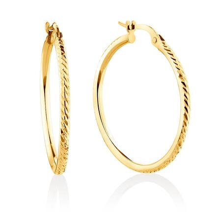 Patterned Hoop Earrings in 10ct Yellow Gold