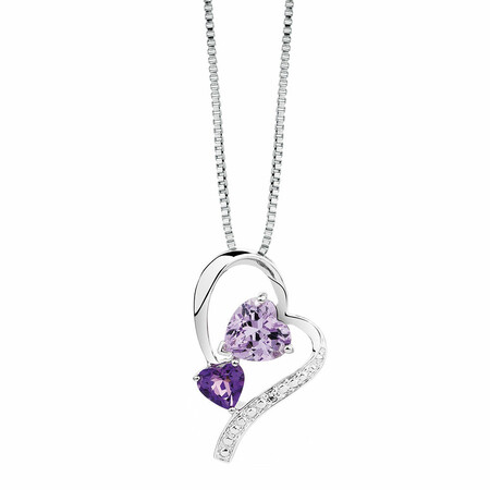 Pendant with Amethyst & Diamond in Sterling Silver