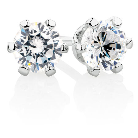 Stud Earrings with White Cubic Zirconia in Sterling Silver