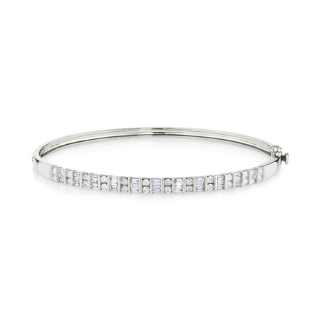 Bangle with 1 Carat TW of Diamonds in 10ct White Gold