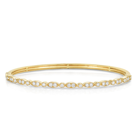 Bangle with 0.69 Carat TW of Diamonds in 14ct Yellow Gold