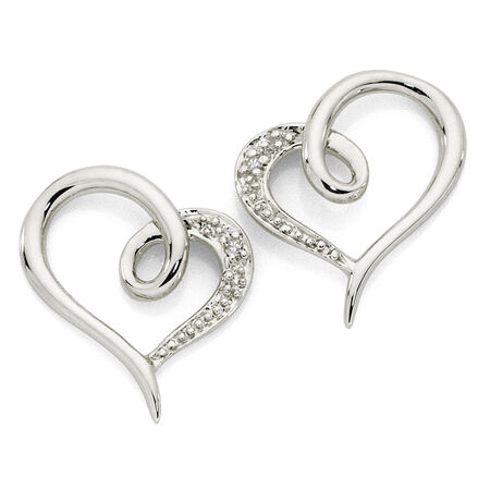 Heart Earrings with Diamonds in 10ct White Gold