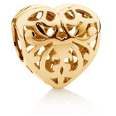 10ct Yellow Gold Filigree Heart Charm