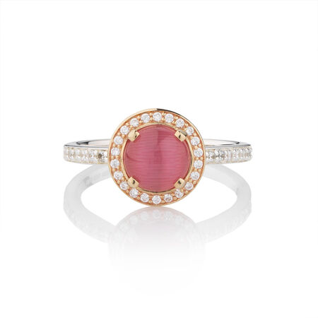 Online Exclusive - Stacker Ring with Pink Moon Stone in 10ct Yellow Gold & Sterling Silver