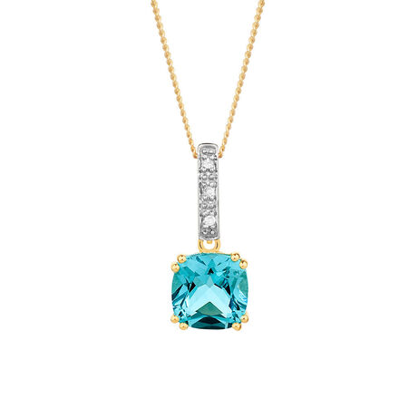 Pendant with Blue Topaz & Diamonds in 10ct Yellow & White Gold