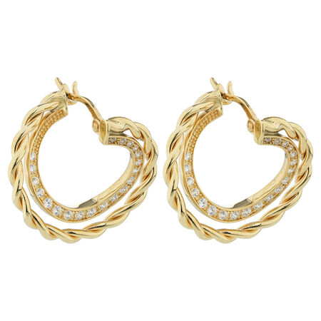 Online Exclusive - Hoop Earrings with Cubic Zirconia in 10ct Yellow & White Gold