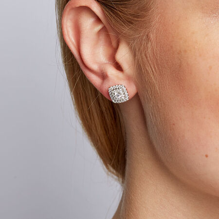Michael Hill Designer Arpeggio Stud Earrings with 1 Carat TW of Diamonds in 14ct White & Rose Gold