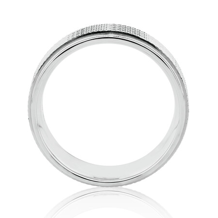 8mm Patterned Ring in 10ct White Gold