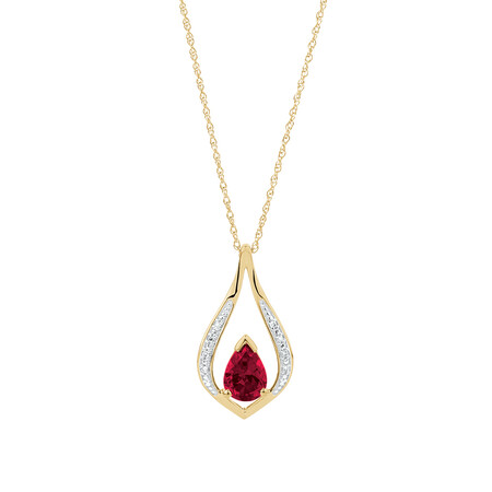 Pear Drop Pendant with Created Ruby & Diamonds in 10ct Yellow Gold