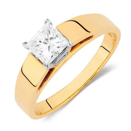 Solitaire Engagement Ring with a 3/4 Carat Diamond in 14ct Yellow & White Gold