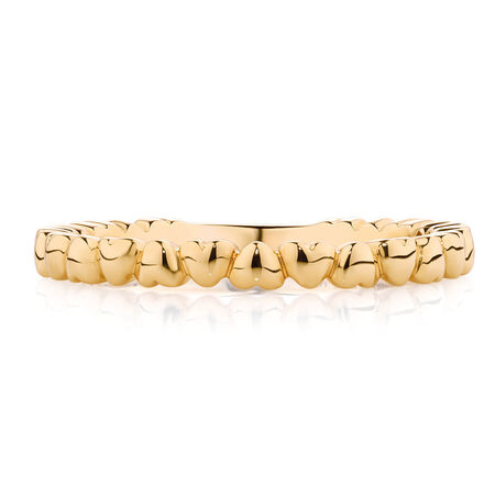 Running Hearts Stacker Ring in 10ct Yellow Gold