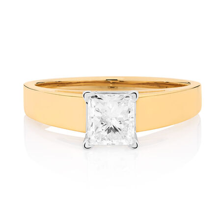 Solitaire Engagement Ring with a 0.95 Carat Diamond in 14ct Yellow & White Gold