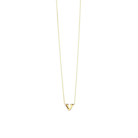 """""""V"""" Initial Pendant in 10ct Yellow Gold"""