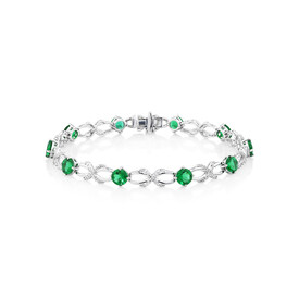 Bracelet with Created Emerald and 0.03 Carat TW of Diamonds in Sterling Silver