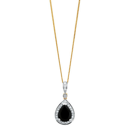 Pendant with Sapphire & 0.16 Carat TW of Diamonds in 10ct Yellow & White Gold