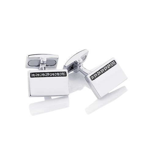 Rectangle Cuff Links with Black Cubic Zirconia in Sterling Silver