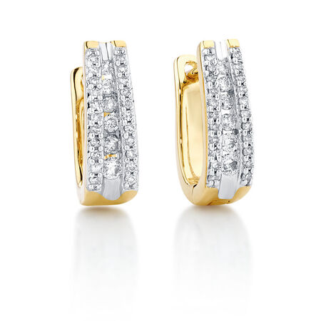 Hoop Earrings with 1/3 Carat TW of Diamonds in 10ct Yellow Gold