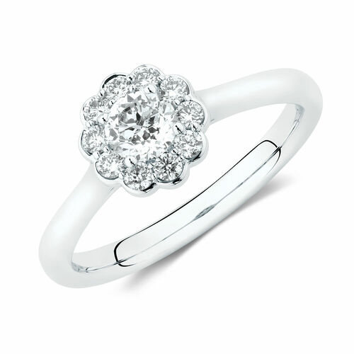Southern Star Engagement Ring with 1/2 Carat TW of Diamonds in 14ct White Gold