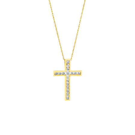 Cross Pendant in 10ct Yellow Gold With Diamonds
