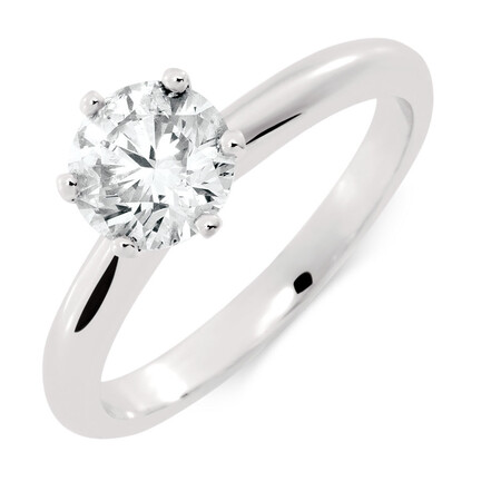 Solitaire Engagement Ring with a 1 Carat TW Certified Diamond in 18ct White Gold