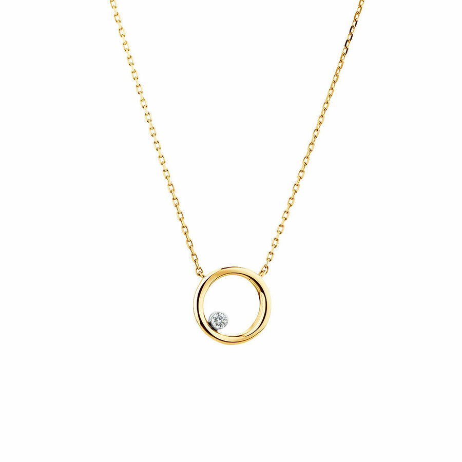 Floating Diamond Circle Necklace with a Diamond in 10ct Yellow Gold