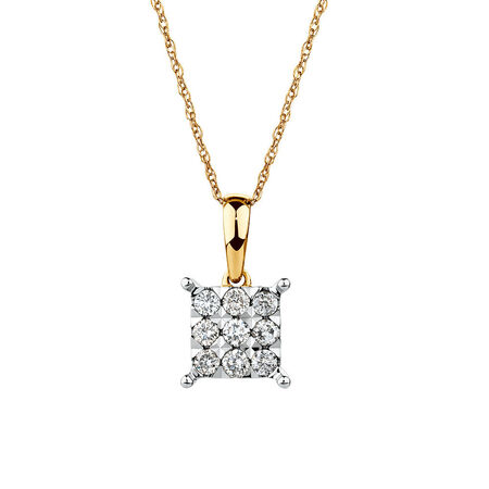 Cluster Pendant with 1/4 Carat TW of Diamonds in 10ct Yellow Gold