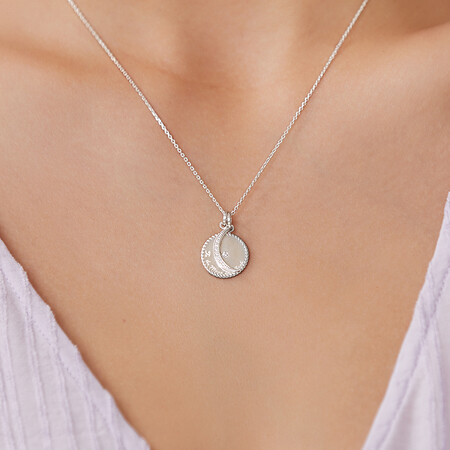 To the Moon & Back Pendant with Cubic Zirconia in Sterling Silver