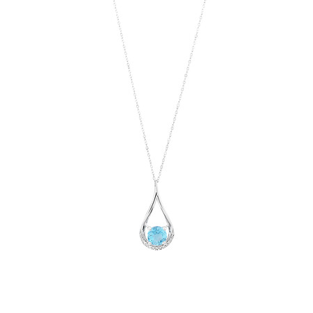 Drop Pendant With  Blue Topaz & Diamonds In 10ct White Gold
