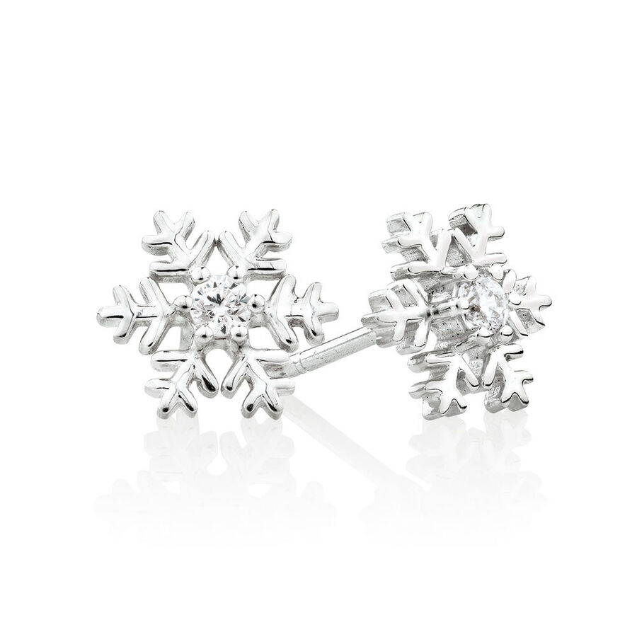Snowflake Stud Earrings with Cubic Zirconia in Sterling Silver