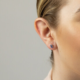 Stud Earrings with Created Light Blue Sapphire in 10ct Yellow Gold