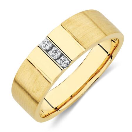 Men's Diamond Set Ring in 10ct Yellow Gold
