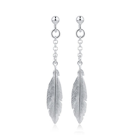 Feather Drop Earrings in Sterling Silver