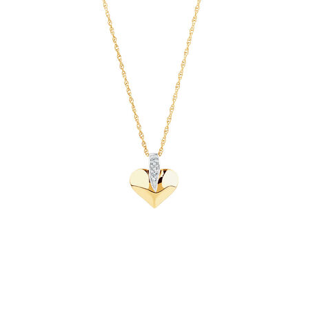 Heart Pendant with Diamonds in 10ct Yellow & White Gold