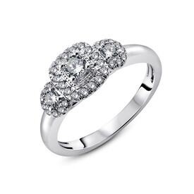 Three Stone Ring with 1/2 Carat TW of Diamonds in 14ct White Gold