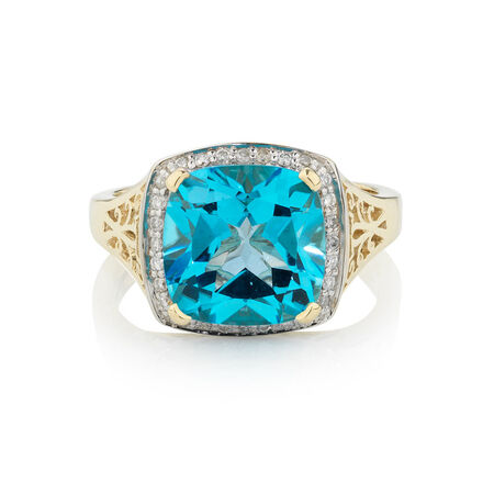 Online Exclusive - Ring with 0.14 Carat TW of Diamonds & Blue Topaz in 10ct Yellow Gold