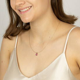 Pave Pendant with Created Ruby in 10ct Yellow Gold