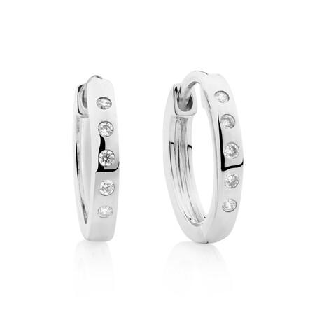 Huggie Earrings with Cubic Zirconia in Sterling Silver
