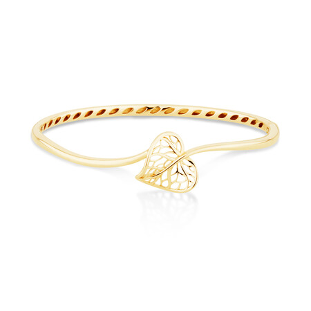Heart Leaf Bangle in 10ct Yellow Gold