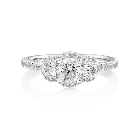 Sir Michael Hill Designer Three Stone Halo Engagement Ring with 1.07 Carat TW of Diamonds in 18ct White Gold