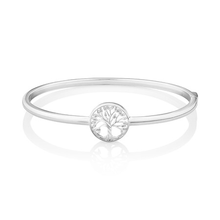 62mm Polished Tree of Life Bangle in Sterling Silver