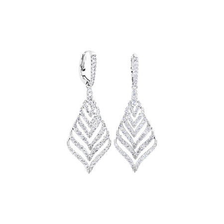 Leaf Drop Earrings With 1.75 Carat TW Of Diamonds In 10ct White Gold