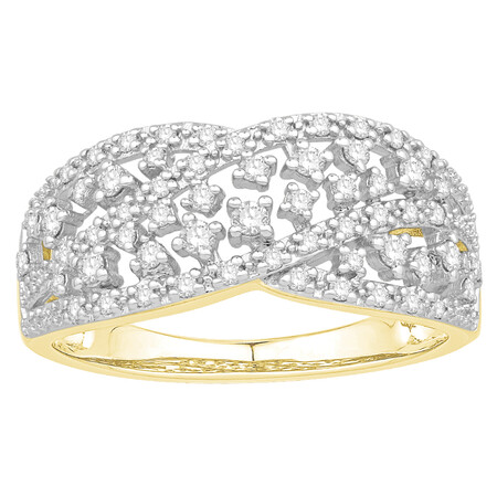 Ring with 0.40 Carat TW of Diamonds in 10ct Yellow Gold